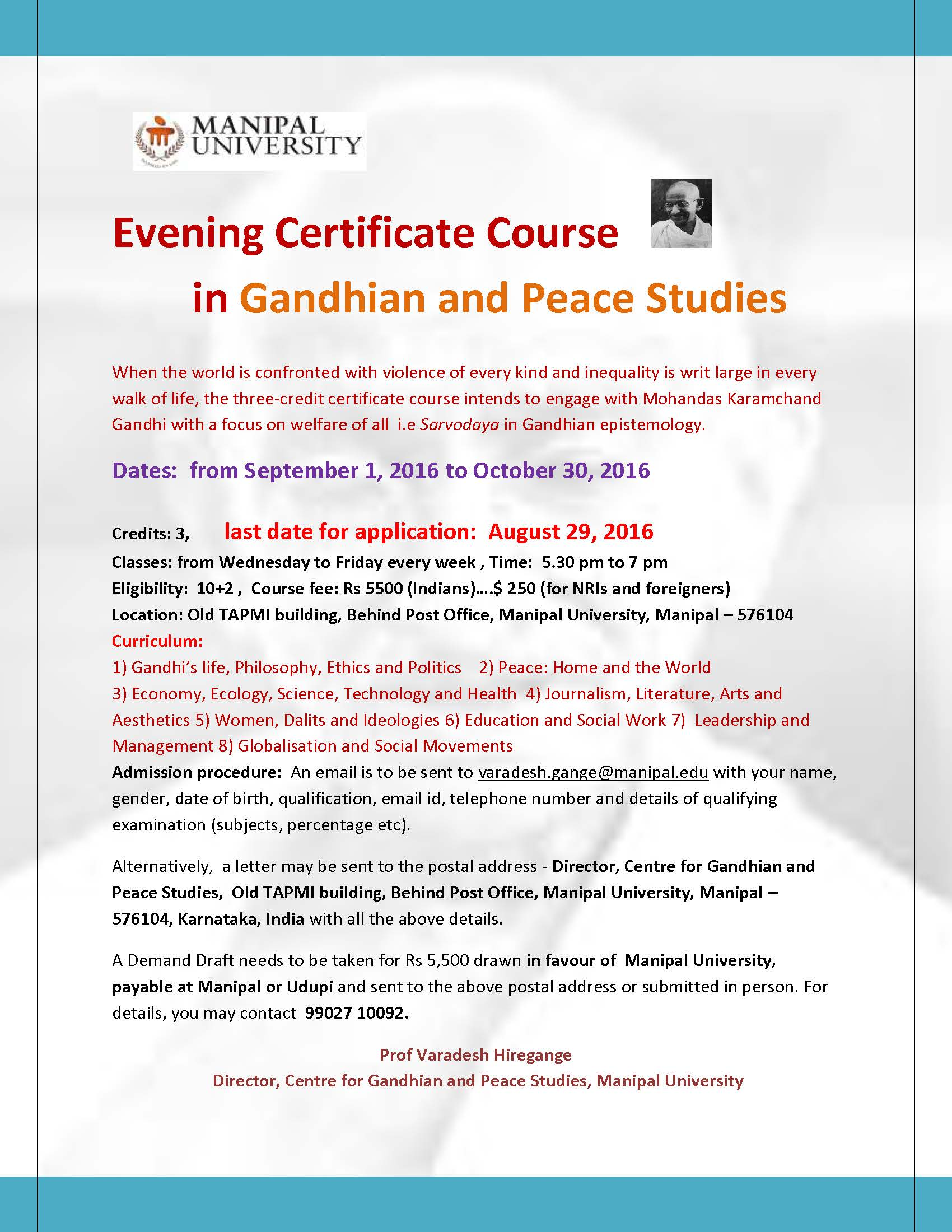 Certificate course in gandhian and peace studies from september 1 gandhi2016sepflyer 2 1betcityfo Choice Image