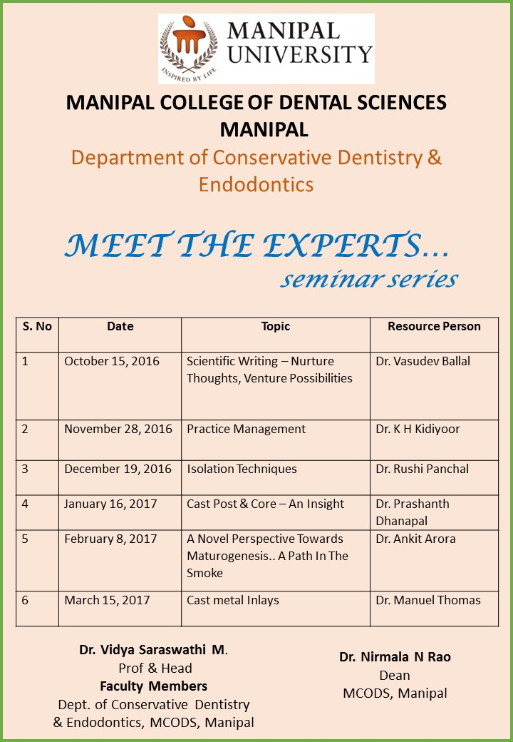 Meet the Experts- Seminar Series