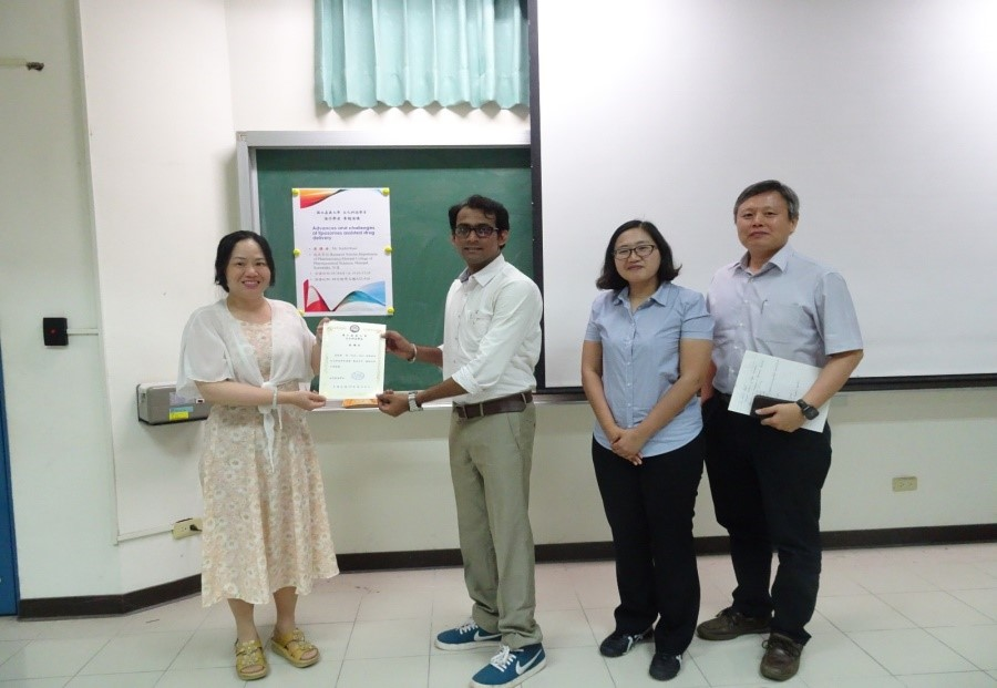 Sushil Raut, research scholar in the department of pharmaceutics visited National Chiayi University, Taiwan