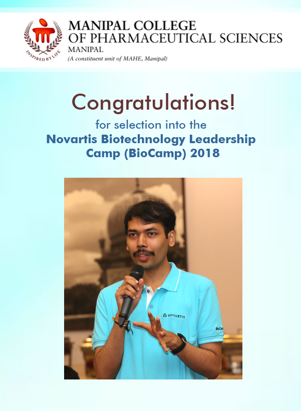 Vivek Ghate, a senior research fellow at the department of pharmaceutics was at the 10th Novartis Biotechnology Leadership Camp