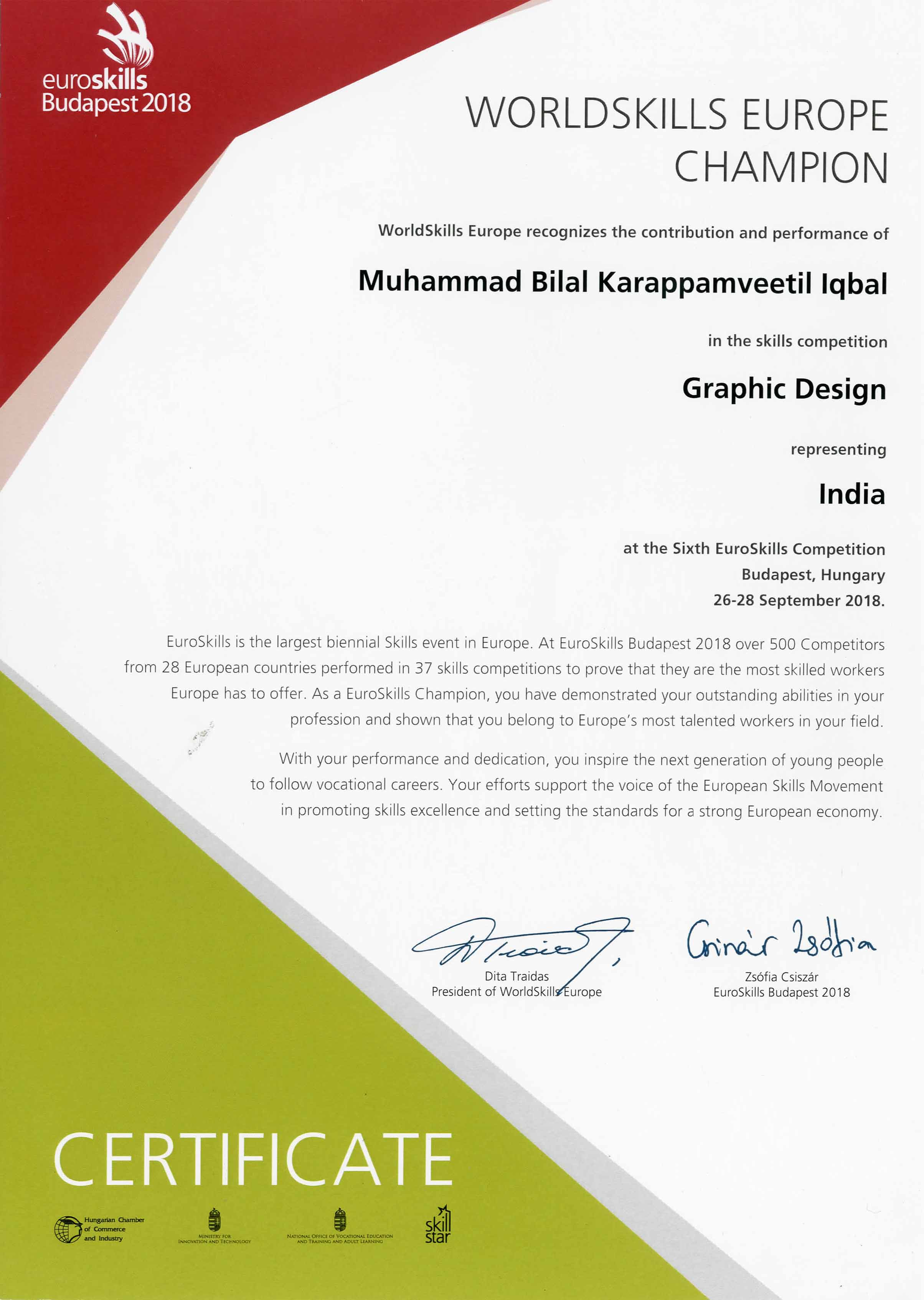 IndiaSkills National Competition 2018  & Euroskills 2018 - Medallion of Excellence Award to Muhammad Bilal - B.Sc. Animation